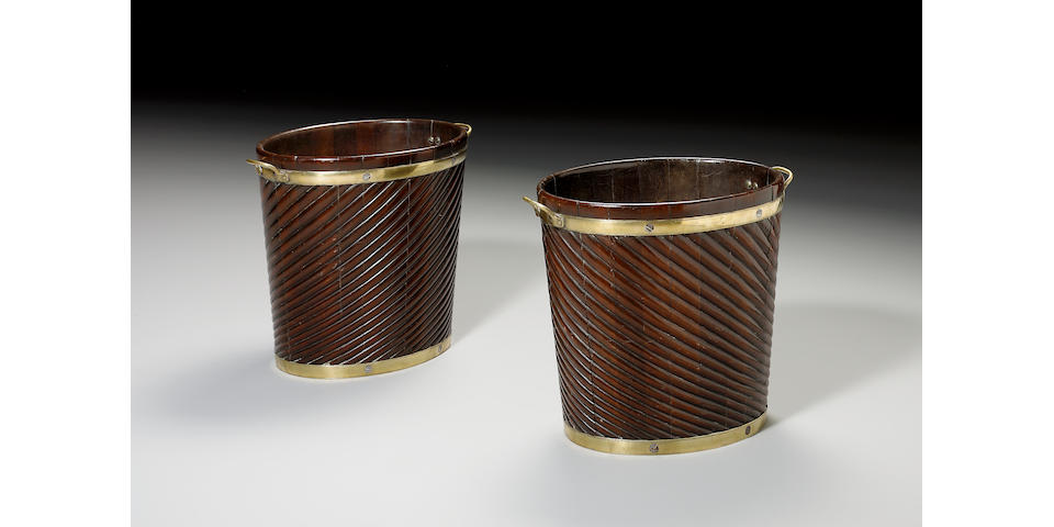 A pair of early 19th century Irish mahogany and brass bound Peat Buckets,