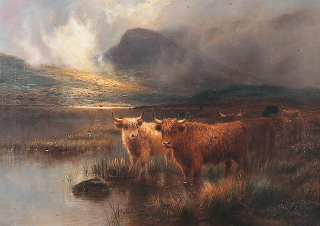 Louis Bosworth Hurt (1856-1929) British Highland cattle by a lochsigned 'Louis B. Hurt', oil on canvas, 41 x 56cm.    see illustration