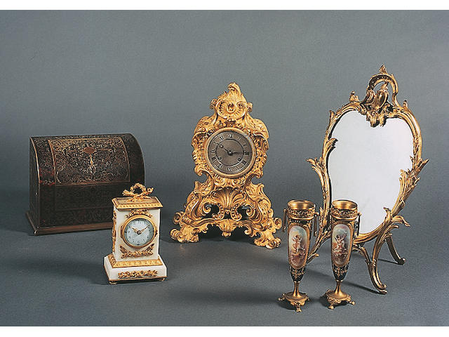 A late 19th Century French 'Boulle' rectangular stationery casket,
