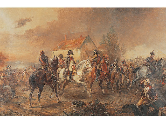 Robert Alexander Hillingford (1825-1904) British Napoleans retreat after the Battle of Waterloosigned 'R.A. Hillingford', oil on canvas, 50.5 x 76.5cm.  see illustration