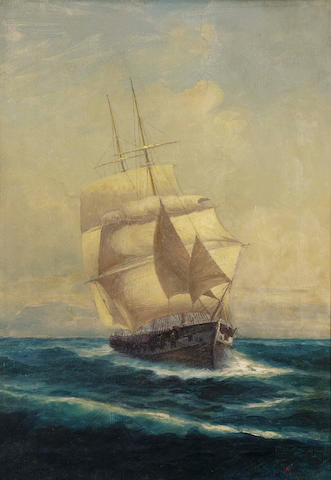 Ioannis Poulakas (Greek 1864-1942) Sailing boat 50.5 x 39 cm. (21 3/4  x 15 1/4 in.)