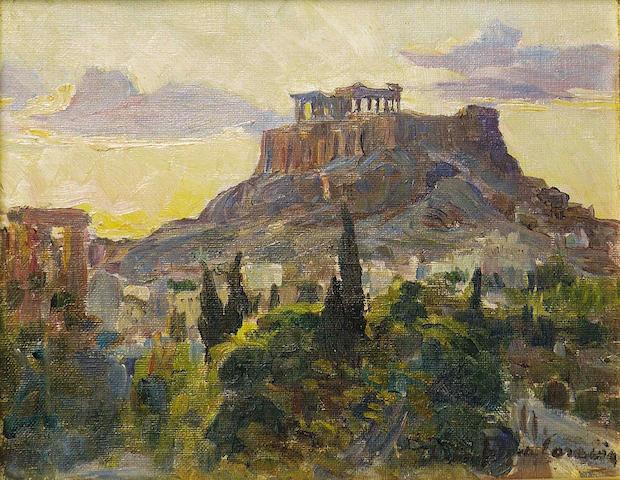 Thalia Flora-Caravia (Greek 1871-1960) View of the Acropolis 26 x 33 cm. (10 1/4 x 13 in.)