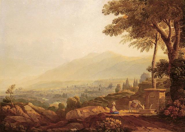 John Varley (British 1778-1842) Traveller resting at the roadside 35 x 49.5 cm. (13 3/4 x 19 1/2 in.)