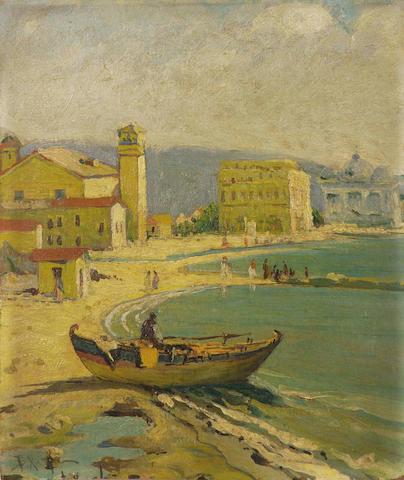 Vassilios Hatzis (Greek 1870-1915) Promenade by the shore 22 x 19 cm. (8 5/8 x 7 1/2 in.)