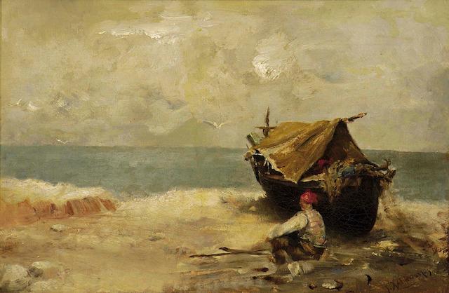 Georgios Hatzopoulos (Greek 1859-1935) Resting at the beach 25 x 37 cm. (9 3/4 x 14 1/2 in.)