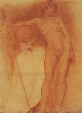 Nikolaos Gysis (Greek 1842-1901) Drunken Maenad 52 x 38 cm. (20 3/8 x 14 7/8 in.)