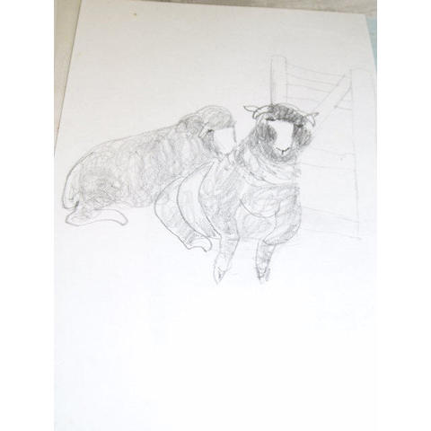 Mary Newcomb (b.1922) Sheep by a gate 21 x 14.5cm (8¼ x 5¾in), and sixteen other studies of animals in pencil, crayon and wash, all unframed.