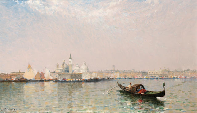 Arthur Joseph Meadows (British 1843-1907) Venice from beyond S. Giorgio; Venice with the Doge's Pala