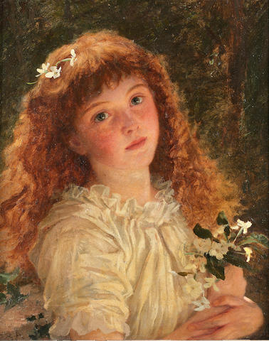 Sophie Anderson (British 1823-1903) The young flower girl 47 x 37 cm. (18 1/2 x 14 1/2 in.)