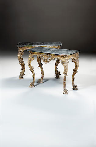 A pair of George II carved giltwood Console Tables,