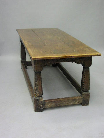 An oak and elm refectory table,