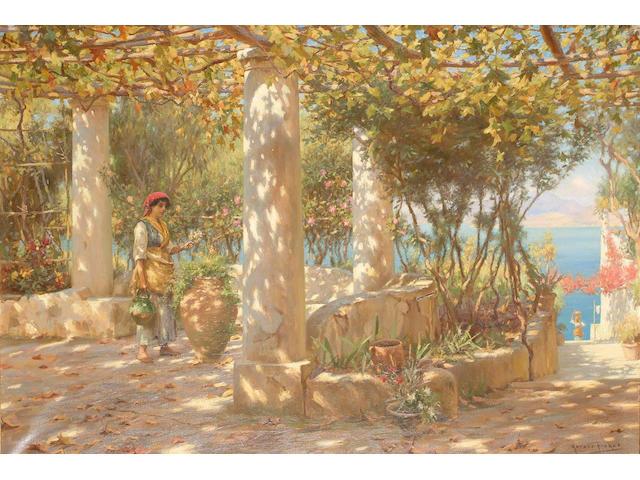 Horace Fisher  The Pergola in Autumn, Capri,  70 x 191cm