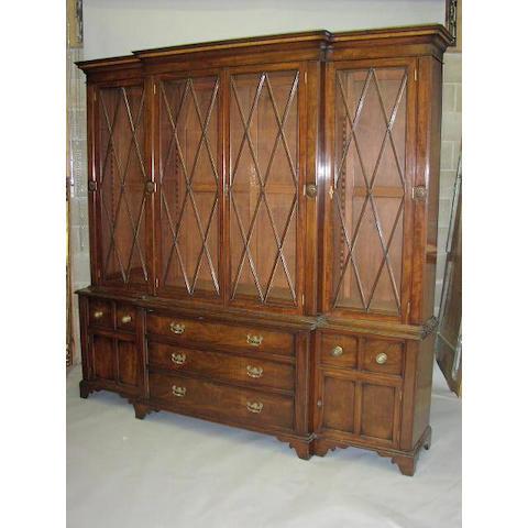 A mahogany breakfront bookcase,