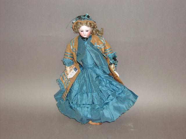 A good bisque head fashion doll, possibly Bru, circa 1860