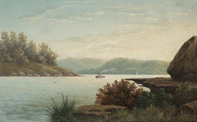 Valentine Delawarr (Australian, c.1890-1898) The mouth of the Hawkesbury river from Long Island 22.8 x 35.6 cm. (9 x 14 in.)