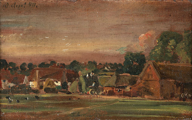 John Constable, RA A sketch of East Bergholt from East Bergholt House 12.5 x 19.5 cm. (7 3/4 x 7 3/4