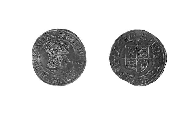- first coinage Groat of Tournai, mm.crowned T, profile portrait of Henry VII, obverse legend HENRIC DI GRA etc, unlike the other issues (S.2317).