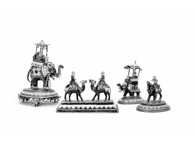 Four Jaipur enamelled silver Figurines