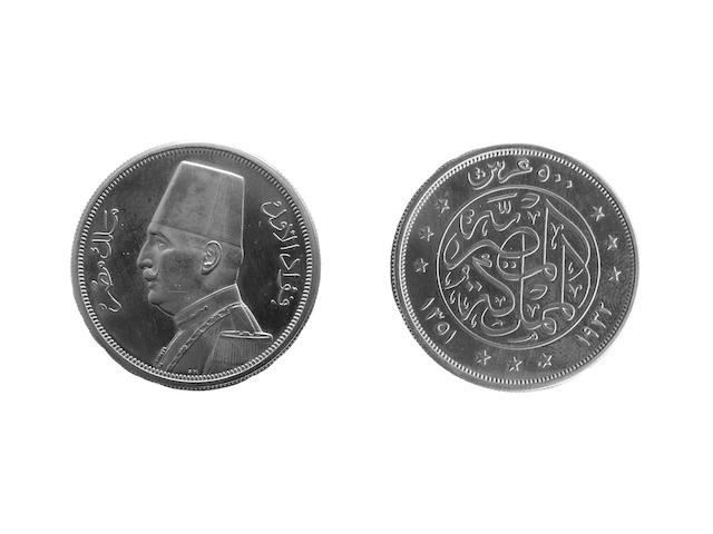 Egypt, gold Proof 500 Piastres, 1932 (KM.355).