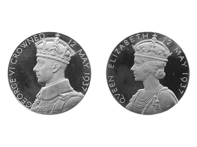 Coronation of George VI 1937, the official Royal Mint issue by P.Metcalfe, gold 122gms., 57mm. In Royal Mint case of issue.