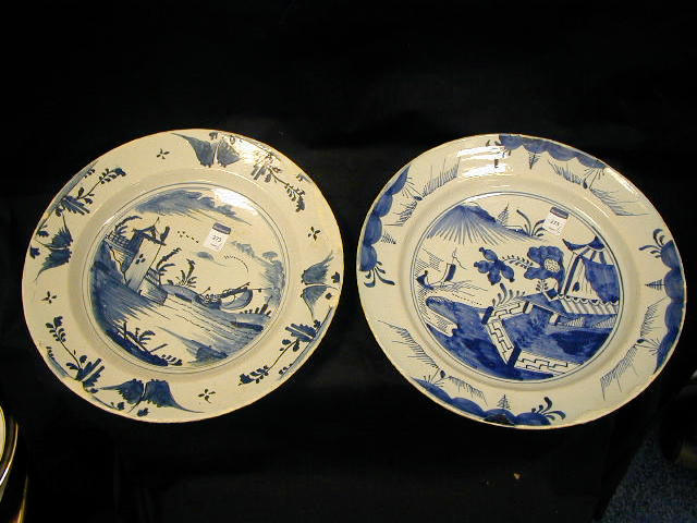 A large Delft blue and white dish,