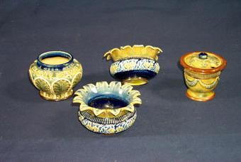A Doulton Lambeth mustard pot, 19th century,
