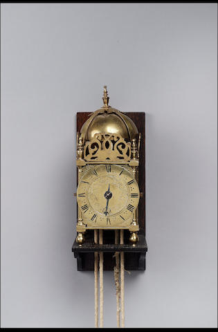An 18th century miniature brass lantern clock Unsigned (2)