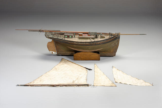 ELASTIC. An Important mid 19th Century Pond Yacht 115 x 48 x 30cm. (45 x 19 x 12in.) hull.
