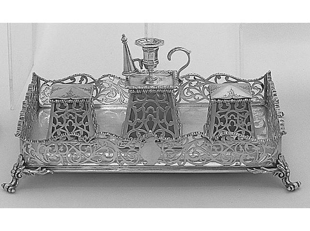 An early Victorian inkstand, by Charles & George Fox, 1850,
