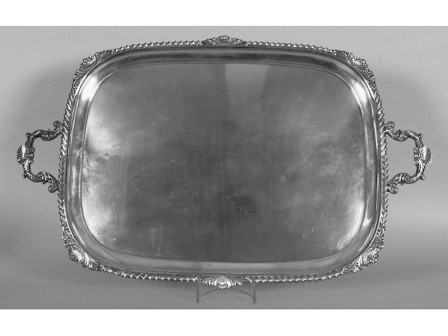 A George V silver to handled tray; Sheffield 1913