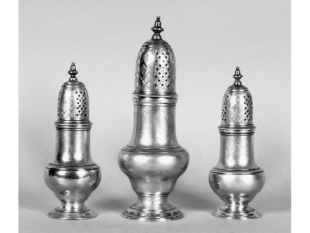 A set of three George II casters Thompson Davis, 1751,