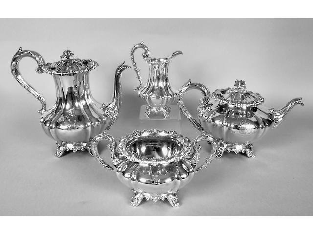 A William IV four piece tea and coffee set Reiley & Storer, 1836,