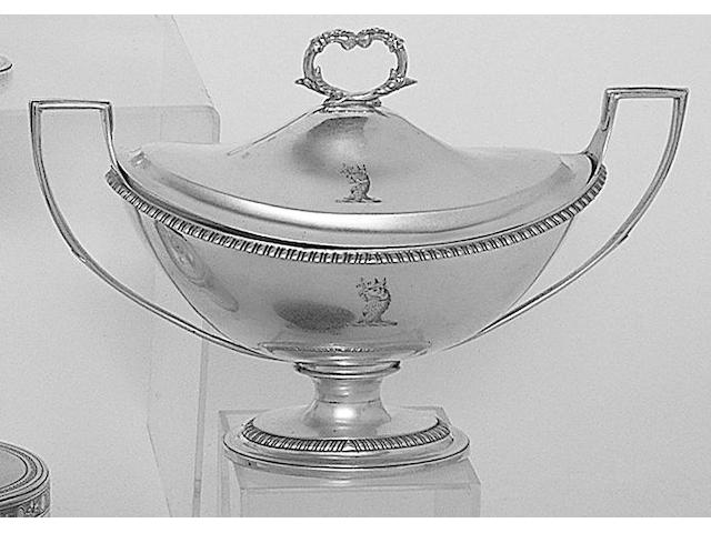 A pair of George III twin handled sauce tureens, by William Pitts, 1800,
