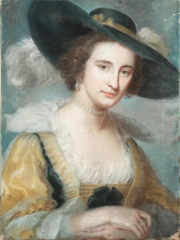 Follower of John Russell (British, 1745-1806) A portrait of a lady wearing a hat, 24 x 18 in (61 x 45.8 cm), unframed.