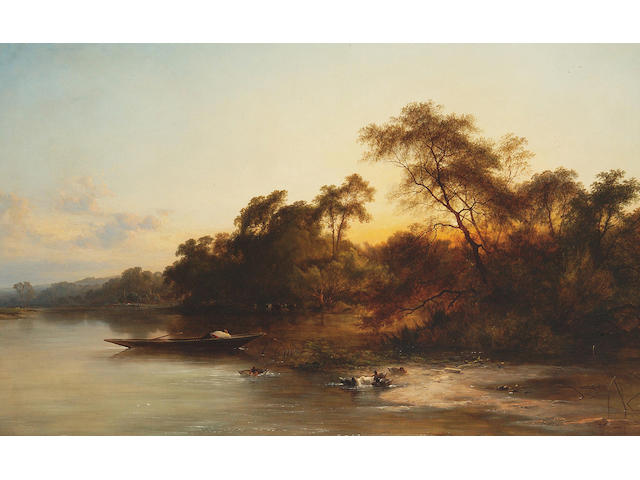 George Augustus Williams (1814-1901) A bend in the river at dusk 81 x 127cm (32 x 50in)