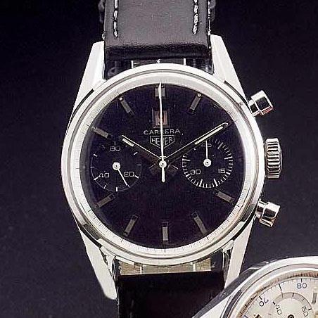 Heuer. A rare stainless steel chronograph calendar wristwatch 'Carrera' 1960s