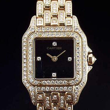 Cartier. A lady's 18ct gold and diamond set bracelet watch  'Panthere' recent.