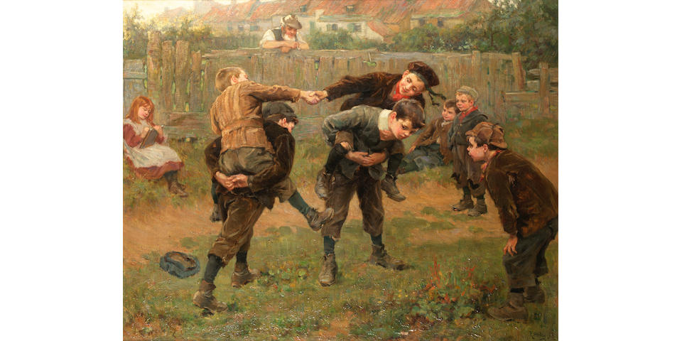 Ralph Headley (British 1851-1913) The tug of war 83 x 103 cm. (32 1/2 x 40 1/2 in.)
