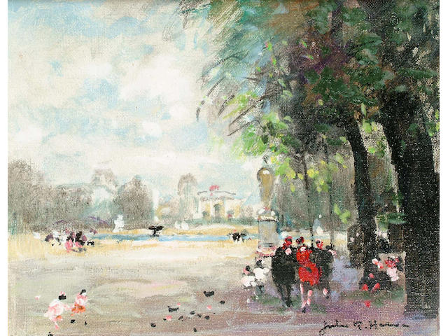 Jules R.Herve (French, 1887-1981) Tuileries 22 x 27cm.