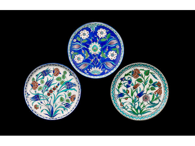 An Iznik style pottery Dish by Theodore Deck, 19th Century