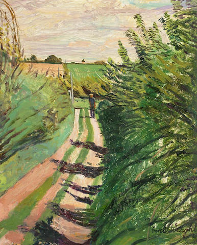 Carel Weight (British, 1908-1997) Figure on a country lane 30 x 25cm.