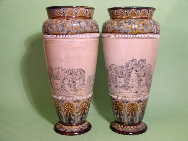 A pair of Doulton Lambeth vases by Hannah Barlow