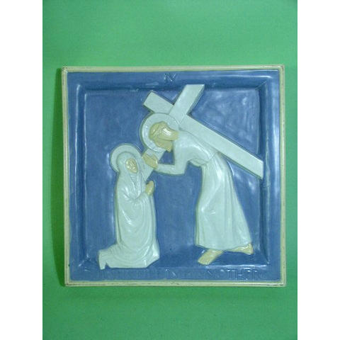 Two Doulton Lambeth Carrara Ware biblical plaques Attributed to Gilbert Bayes,