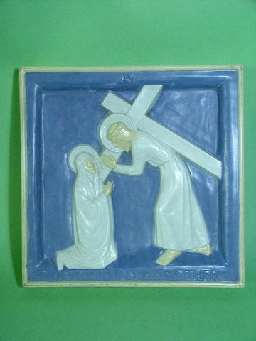Lambeth Two Doulton Lambeth Carrara Ware biblical plaques Attributed to Gilbert Bayes,