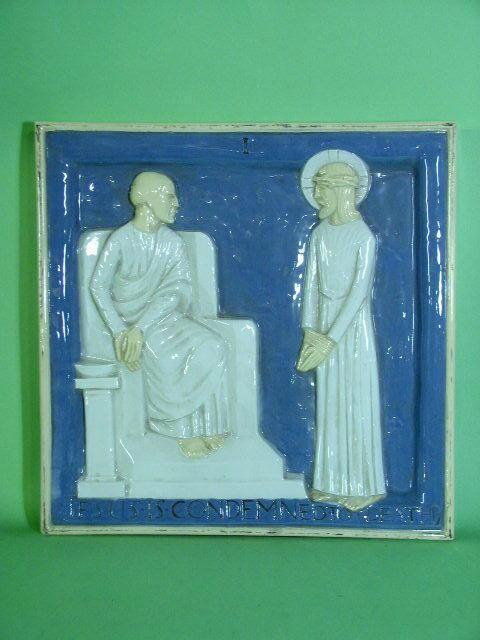 Lambeth Two Doulton Lambeth Carrara Ware biblical plaques Attributed to Gilbert Bayes,