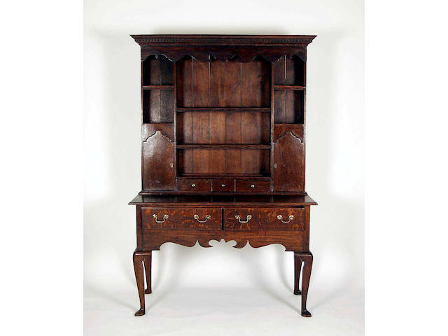 An 18th Century style oak dresser and rack,
