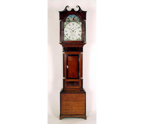 An oak cased eight day longcase clock with automata,