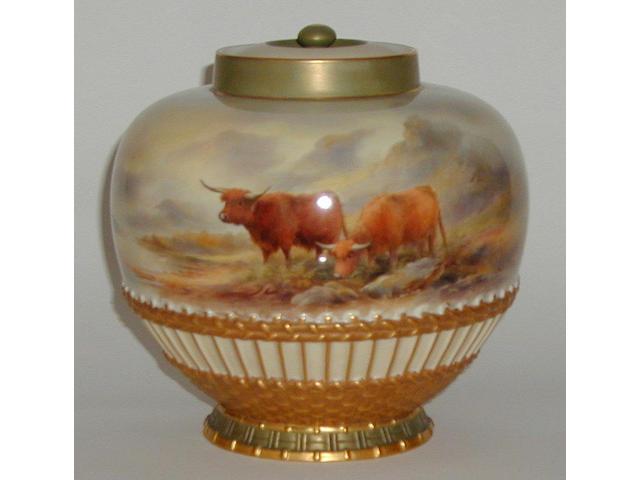 A Royal Worcester pot-pourri vase by John Stinton, dated 1912,