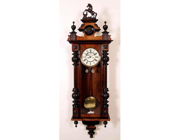 A walnut cased Vienna regulator wall clock,