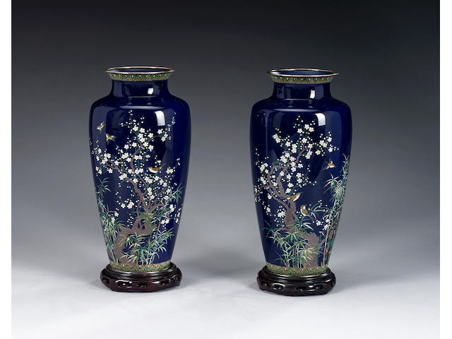 A pair of blue-ground cloisonné vases,